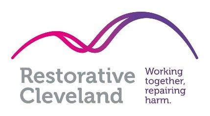 Restorative Justice Cleveland logo in white, pink and purple.