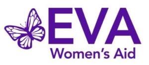Purple and white EVA Women's Aid logo.