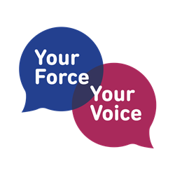 Your Force, Your Voice logo in pink and blue.