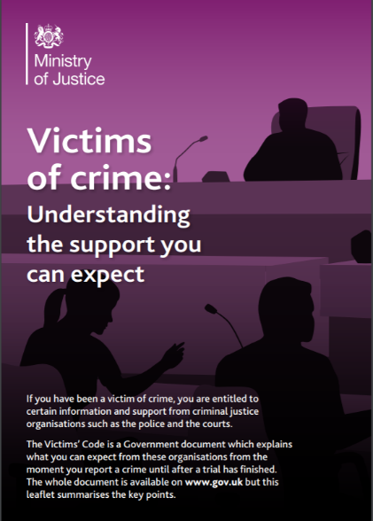 Victims of Crime leaflet from the Ministry of Justice.
